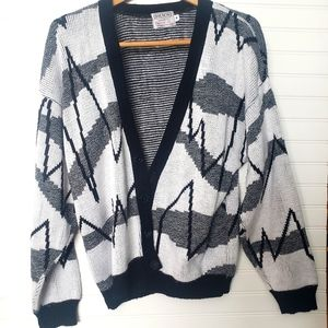 Vintage Hilton Abstract 80s cardigan sweater